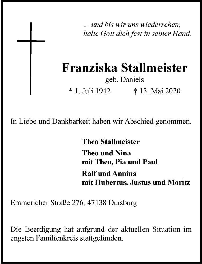 Traueranzeige für Franziska Stallmeister vom 23.05.2020 aus Rheinische Post