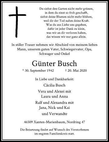 Traueranzeige von Günter Busch von Rheinische Post