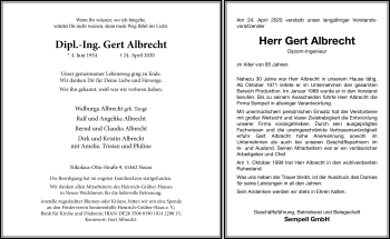 Traueranzeige von Gert Albrecht von Rheinische Post