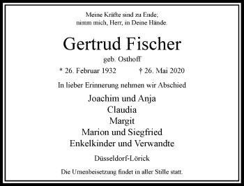 Traueranzeige von Gertrud Fischer von Rheinische Post