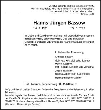 Traueranzeige von Hanns-Jürgen Bassow von Rheinische Post