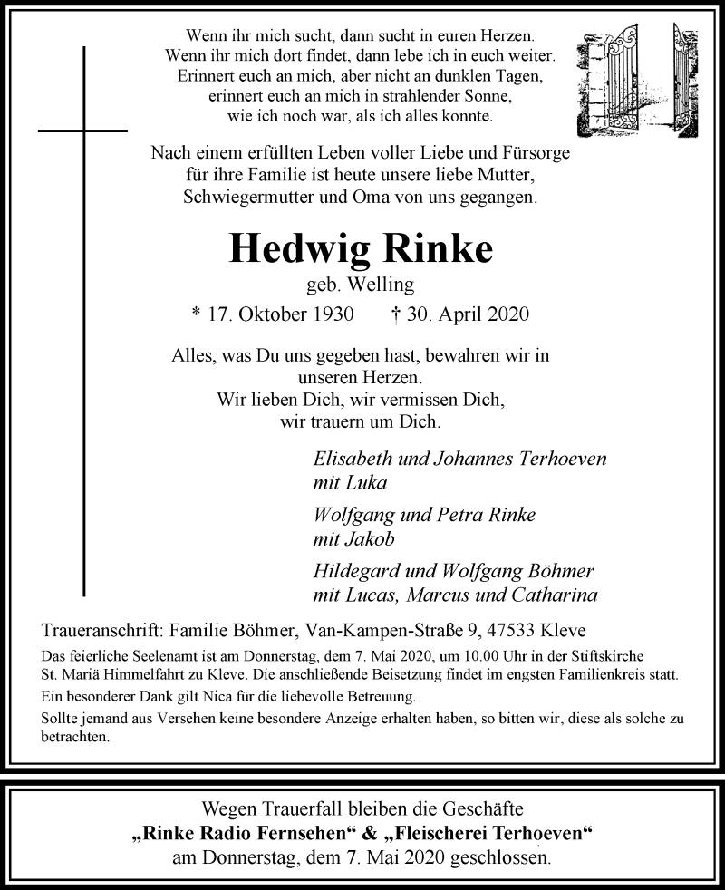 Anzeige von  Hedwig Rinke