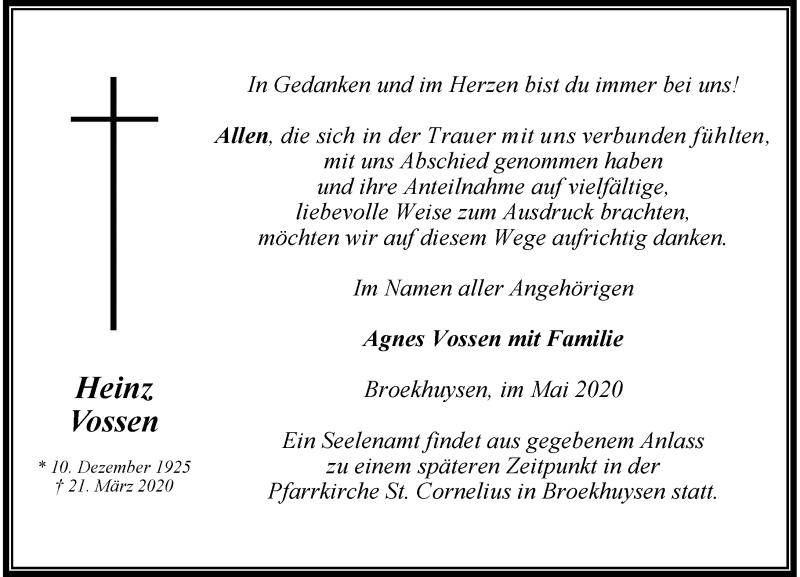 Anzeige von  Heinz Vossen