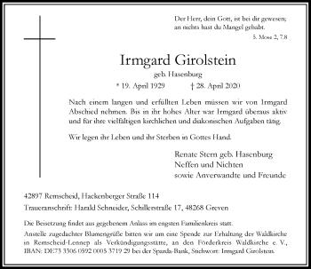 Traueranzeige von Irmgard Girolstein von Rheinische Post
