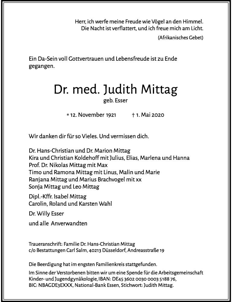 Anzeige von  Judith Mittag