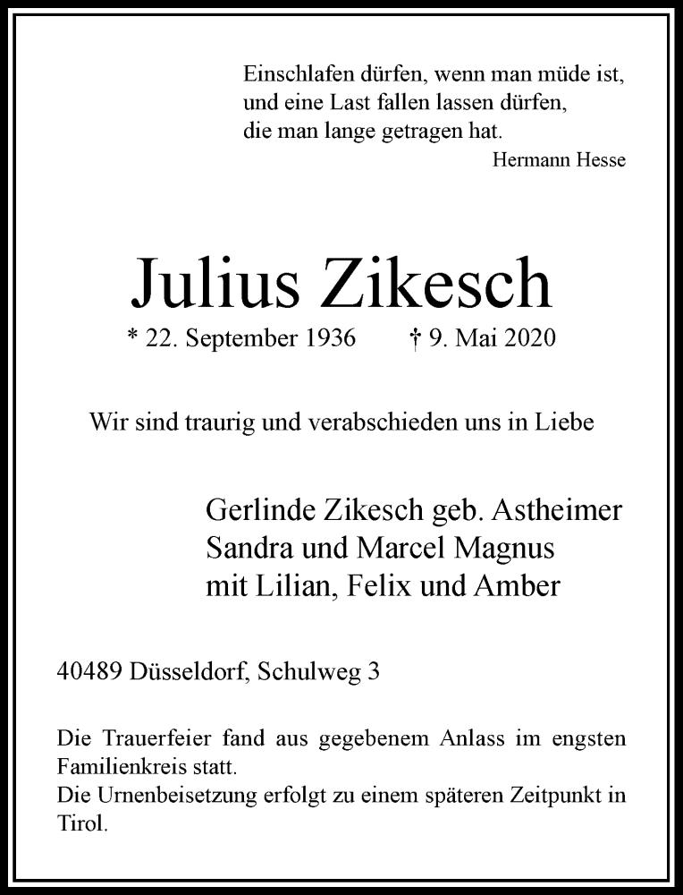 Traueranzeige für Julius Zikesch vom 30.05.2020 aus Rheinische Post
