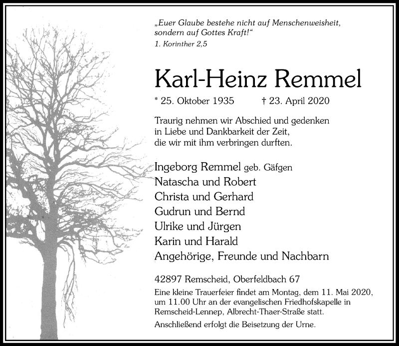 Traueranzeige für Karl-Heinz Remmel vom 06.05.2020 aus Rheinische Post