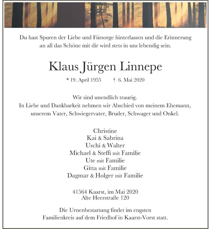 Traueranzeige für Klaus Jürgen Linnepe vom 23.05.2020 aus Rheinische Post