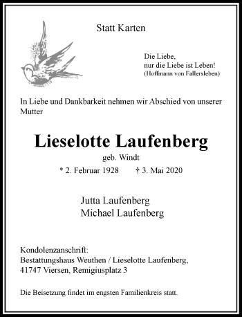 Traueranzeige von Lieselotte Laufenberg von Rheinische Post