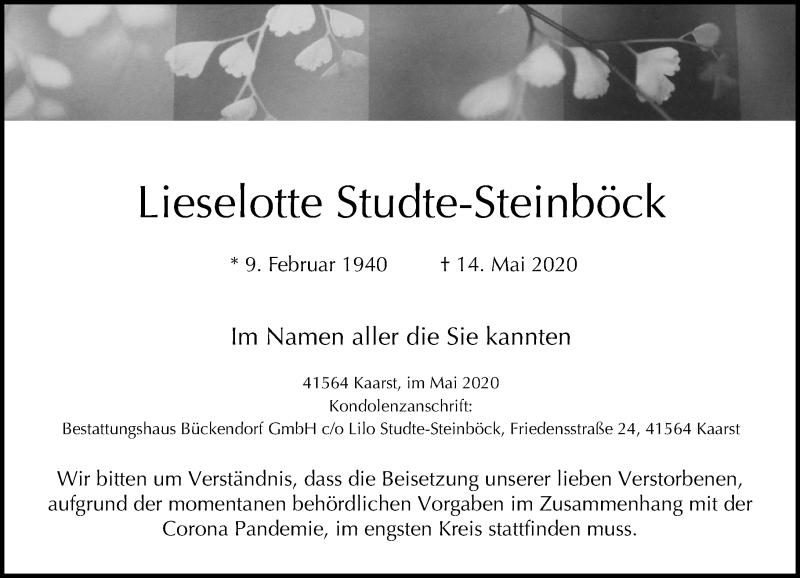 Traueranzeige für Lieselotte Studte-Steinböck vom 23.05.2020 aus Rheinische Post