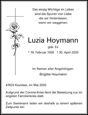 Traueranzeige von Luzia Hoymann von Rheinische Post