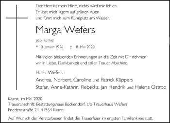 Traueranzeige von Marga Wefers von Rheinische Post