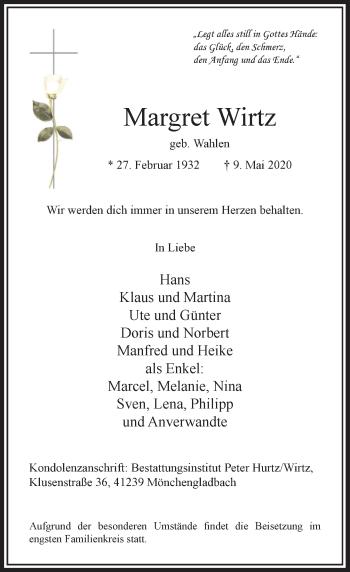 Traueranzeige von Margret Wirtz von Rheinische Post
