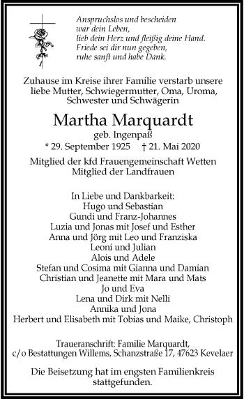 Traueranzeige von Martha Marquardt von Rheinische Post