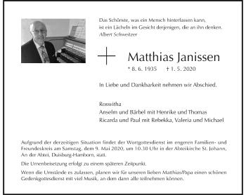Traueranzeige von Matthias Janissen von Rheinische Post