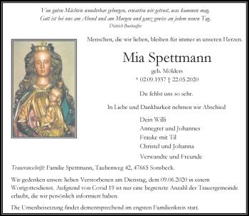 Traueranzeige von Mia Spettmann von Rheinische Post