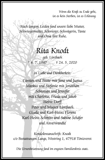 Traueranzeige von Rita Knodt von Rheinische Post