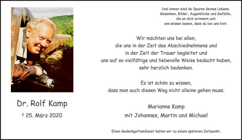 Traueranzeige für Rolf Kamp vom 16.05.2020 aus Rheinische Post