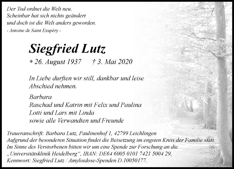 Anzeige von  Siegfried Lutz