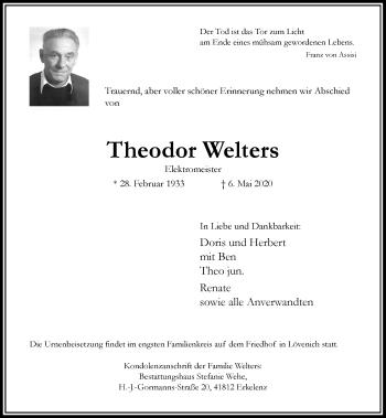 Traueranzeige von Theodor Welters von Rheinische Post