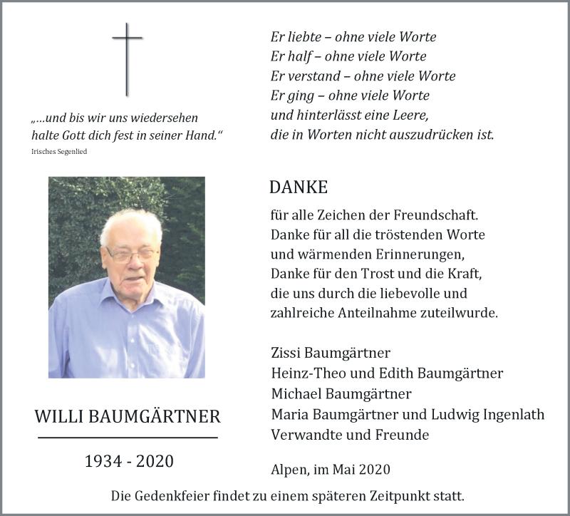 Anzeige von  Willi Baumgärtner