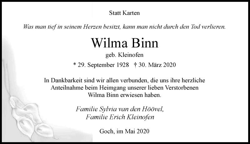 Anzeige von  Wilma Binn