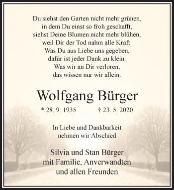 Traueranzeige von Wolfgang Bürger von Rheinische Post