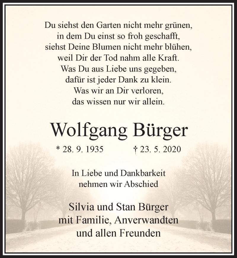 Traueranzeige für Wolfgang Bürger vom 30.05.2020 aus Rheinische Post