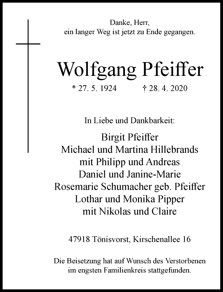 Anzeige von  Wolfgang Pfeiffer