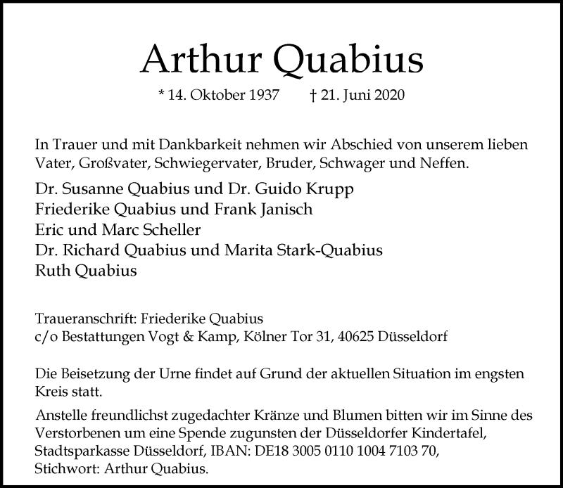 Traueranzeige für Arthur Quabius vom 27.06.2020 aus Rheinische Post