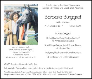 Traueranzeige von Barbara Burggraf von Rheinische Post
