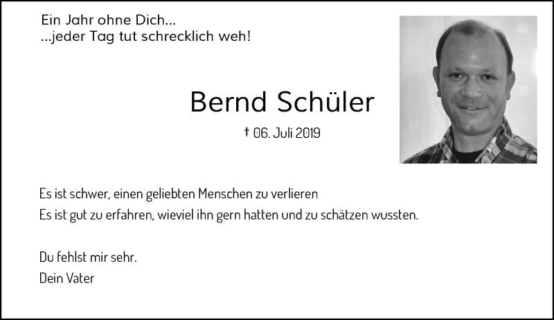 Anzeige von  Bernd Schüler