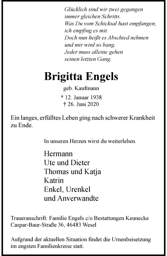Anzeige von  Brigitta Engels