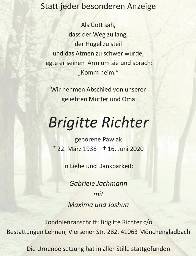 Traueranzeige für Brigitte Richter vom 27.06.2020 aus Rheinische Post