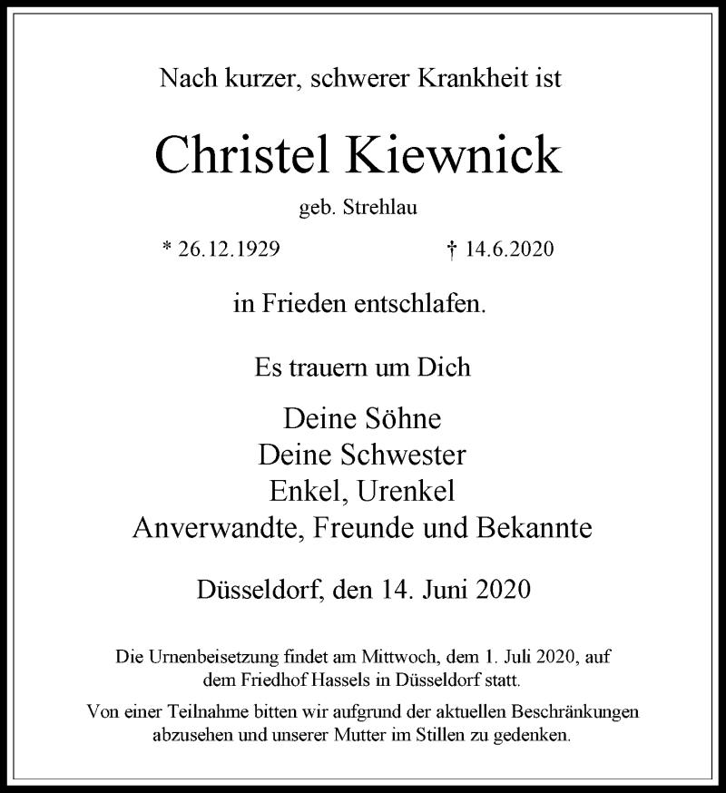 Traueranzeige für Christel Kiewnick vom 27.06.2020 aus Rheinische Post