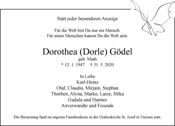 Traueranzeige von Dorothea  Gödel von Rheinische Post