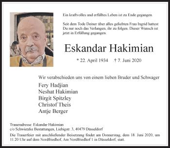 Traueranzeige von Eskandar Hakimian von Rheinische Post