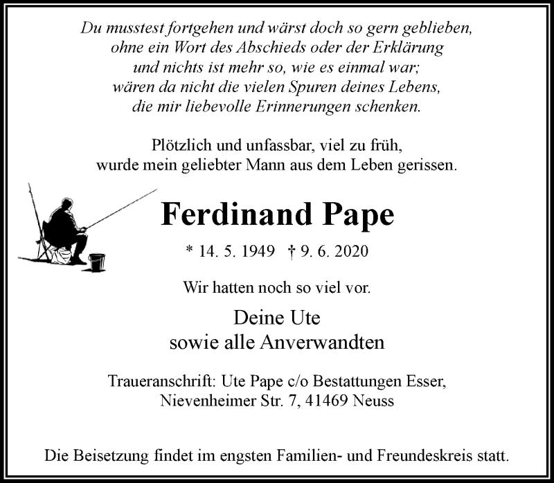 Anzeige von  Ferdinand Pape