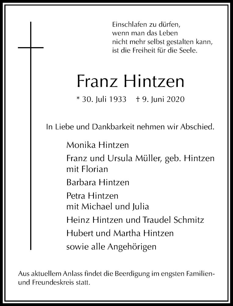 Traueranzeige für Franz Hintzen vom 13.06.2020 aus Rheinische Post