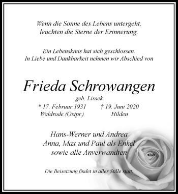 Traueranzeige von Frieda Schrowangen von Rheinische Post