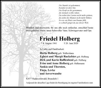 Traueranzeige von Friedel Holberg von Rheinische Post