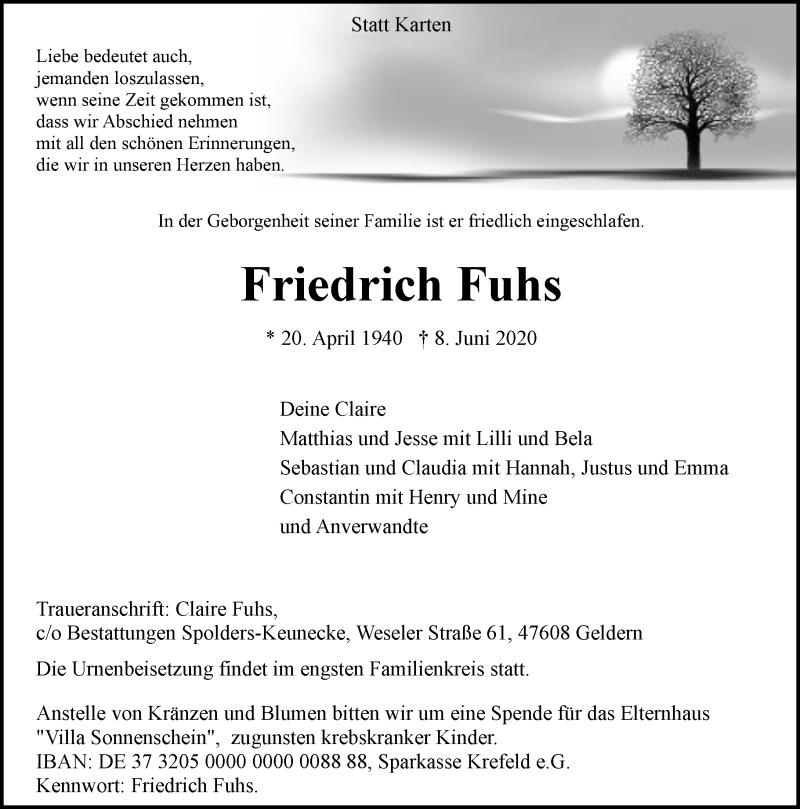 Anzeige von  Friedrich Fuhs