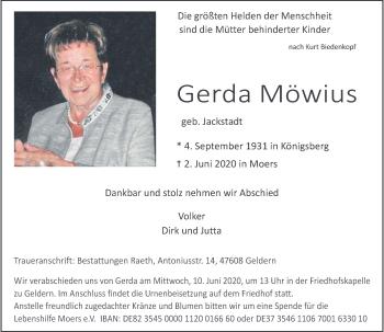 Traueranzeige von Gerda Möwius von Rheinische Post