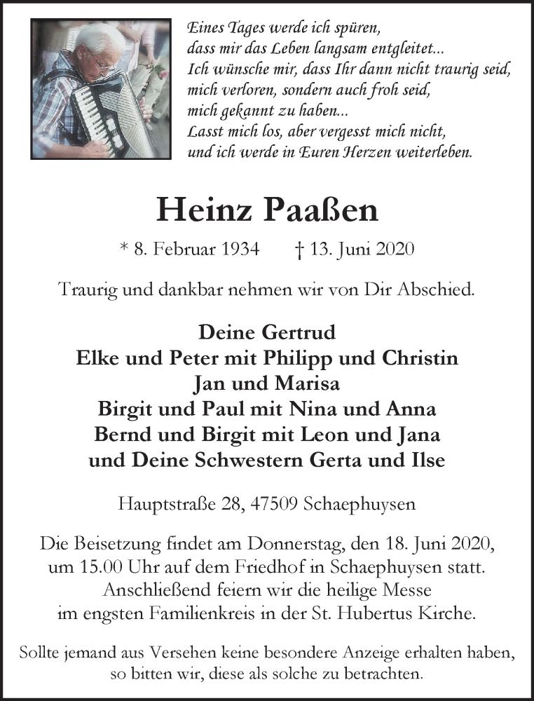 Traueranzeige für Heinz Paaßen vom 16.06.2020 aus Rheinische Post