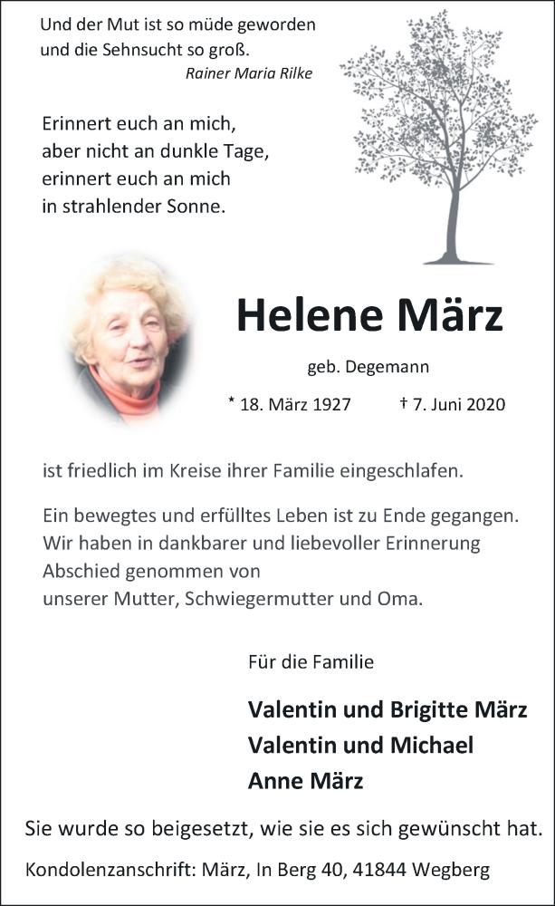 Traueranzeige für Helene März vom 20.06.2020 aus Rheinische Post