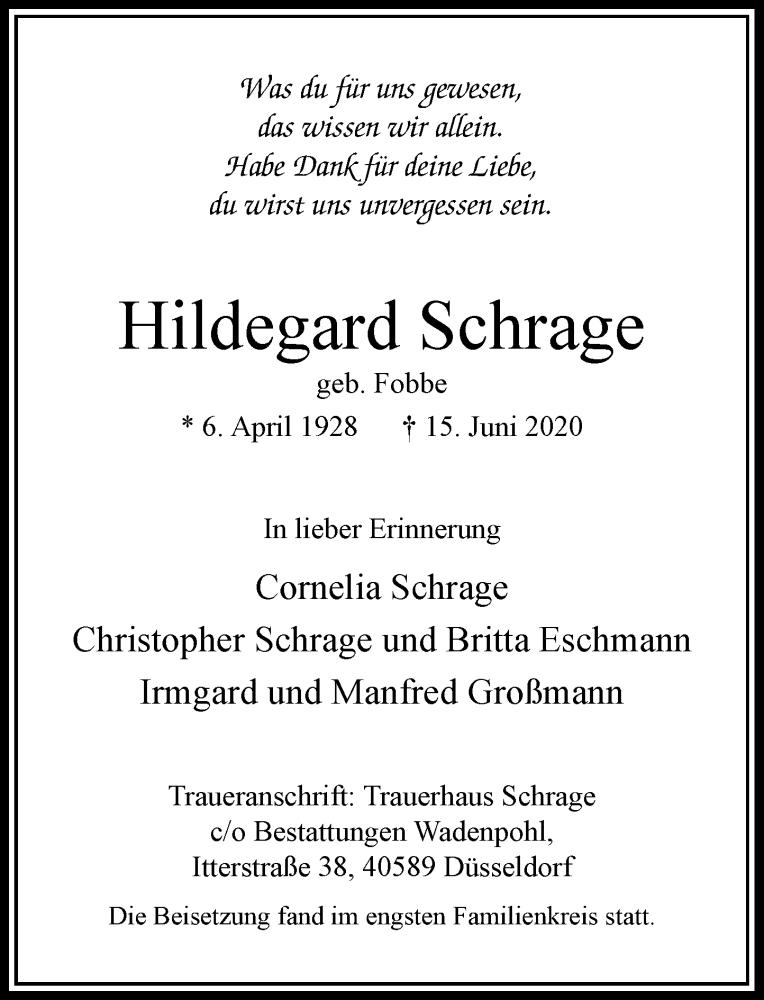 Traueranzeige für Hildegard Schrage vom 27.06.2020 aus Rheinische Post