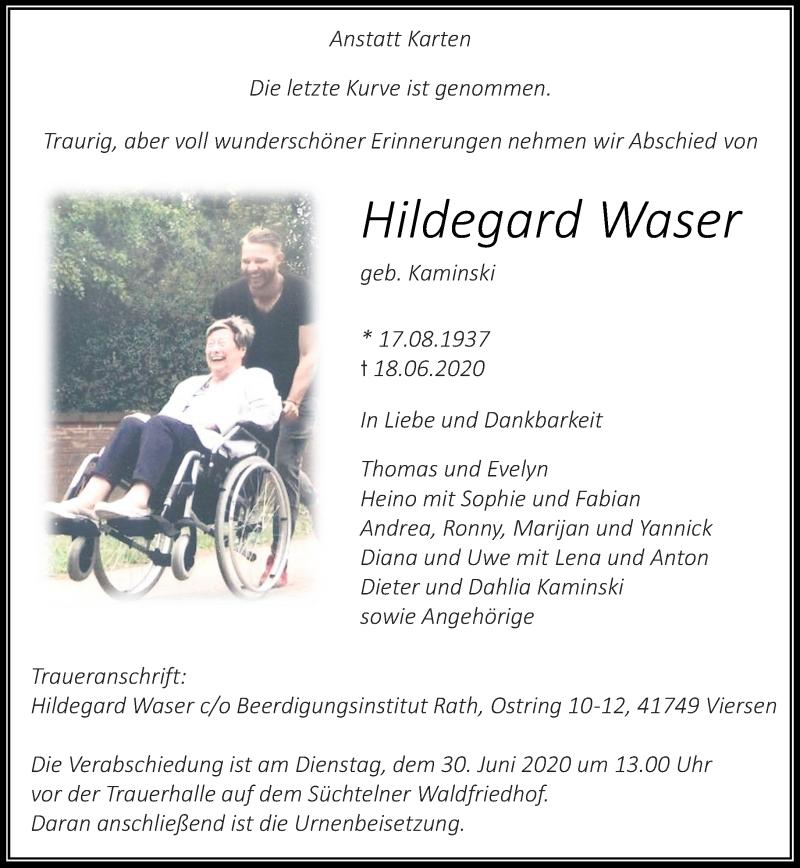 Traueranzeige für Hildegard Waser vom 27.06.2020 aus Rheinische Post