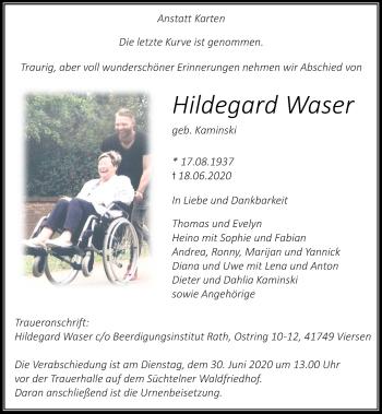 Traueranzeige von Hildegard Waser von Rheinische Post