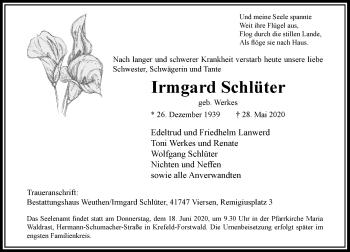Traueranzeige von Irmgard Schlüter von Rheinische Post