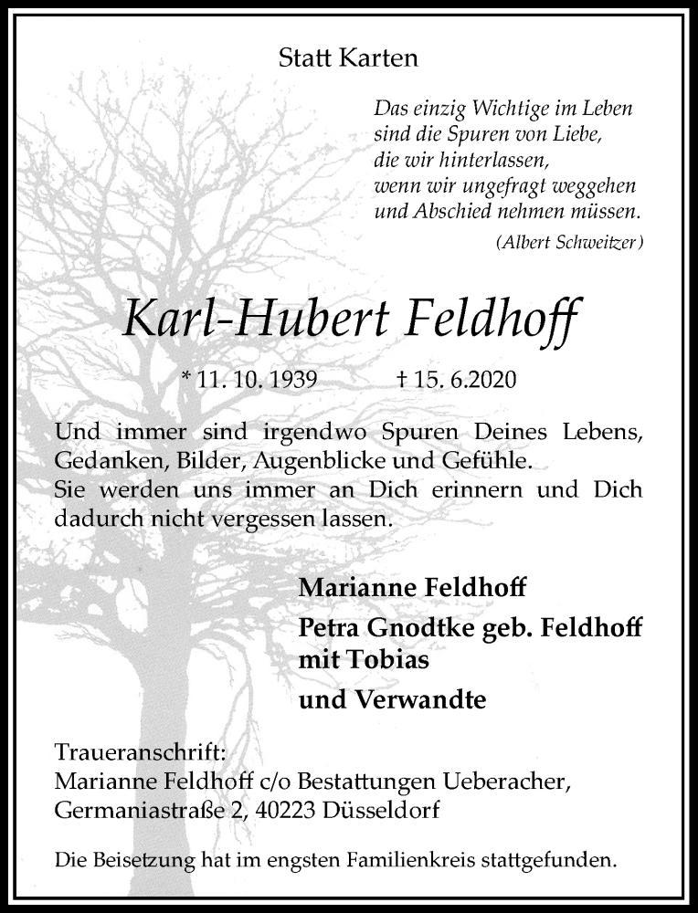 Traueranzeige für Karl-Hubert Feldhoff vom 27.06.2020 aus Rheinische Post